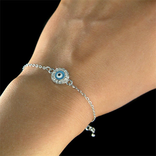 ... Crystal Turquoise Color Evil Eye Ward Off Chain Bracelet New | eBay