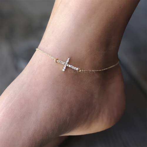 Details About Sideways Cross Made With Swarovski Crystal Celebrity Religious Gold Tone Anklet